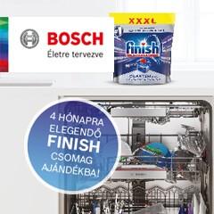 Bosch mosogatógépek 4 hónapra elegendő ajándék Finish csomaggal