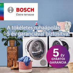 5 év gyári jótállás a Bosch mosógépek, szárítógépek és mosó-szárítógépekhez