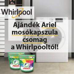 1 évre elegendő Ariel mosókapszula ajándékba Whirlpool mosógépek mellé
