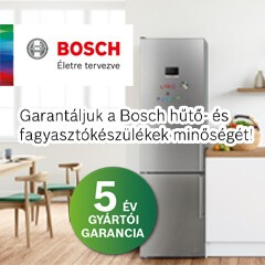 Bosch hűtő-és fagyasztókészülékek 5 év gyártói garanciával.