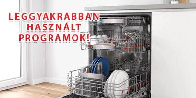 leggyakrabban használt mosogatógép programok